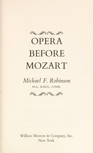 Opera before Mozart by Michael Finlay Robinson