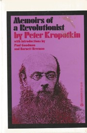 Cover of: Memoirs of a revolutionist | Peter Kropotkin
