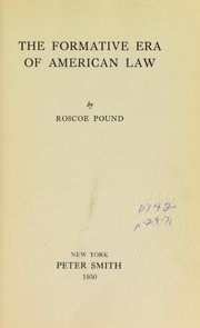 Cover of: The formative era of American law
