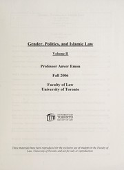 Cover of: Gender, politics, and Islamic law | Anver M. Emon