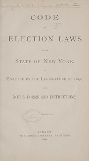 Cover of: Code of election laws of the state of New York