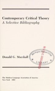 Cover of: Contemporary critical theory | Donald G. Marshall
