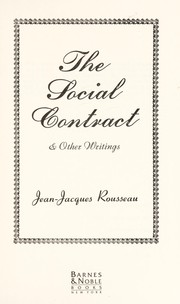 Cover of: The Social Contract and other Writings | Jean-Jacques Rousseau