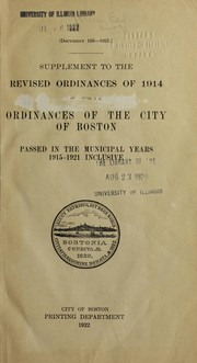 Cover of: Supplement to the revised ordinances of 1914 ... |