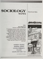 Cover of: Sociology 93/94