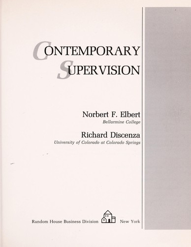 Contemporary supervision by Norbert Elbert