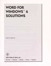 Cover of: Word for Windows 6 solutions | Elaine J. Marmel