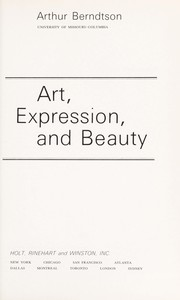 Cover of: Art, expression, and beauty