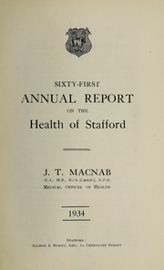 Cover of: [Report 1934] | Stafford (England). Borough Council