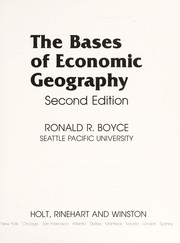 Cover of: The bases of economic geography