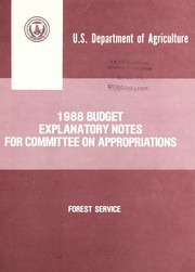Cover of: 1988 budget explanatory notes for Committee on Appropriations | United States. Forest Service