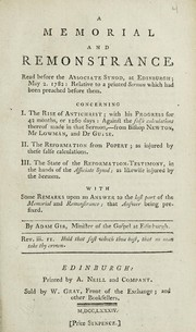 Cover of: A memorial and remonstrance