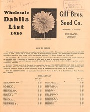 Cover of: Wholesale dahlia list, 1930