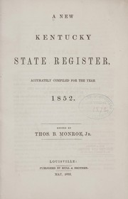 Cover of: A new Kentucky state register | Monroe, Thomas B. jr.,