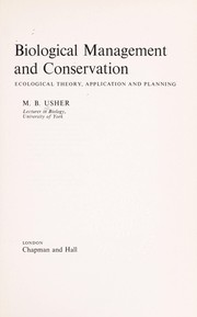 Cover of: Biological management and conservation