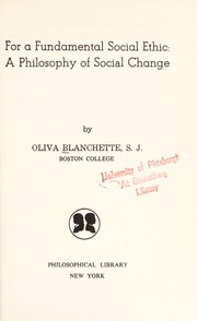 Cover of: For a fundamental social ethic