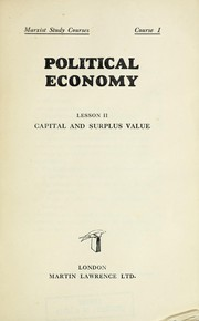 Cover of: Political economy | Marxist Study Courses