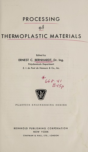 Processing of thermoplastic materials  (1959 edition)   Open
