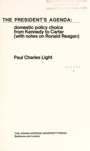 Cover of: The president's agenda | Paul Charles Light