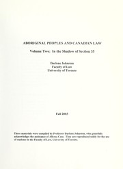 Cover of: Aboriginal peoples and Canadian law | Darlene Johnston