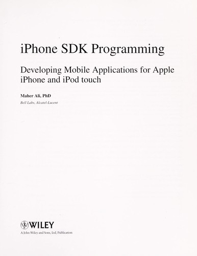 iPhone SDK programming by Maher Ali