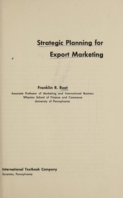 Cover of: Strategic planning for export marketing