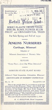 Cover of: Retail price list | Jenkins Nurseries (Carthage, Mo.)