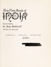 Cover of: The first book of India. | Jean Bothwell