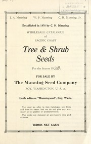 Cover of: Wholesale catalogue of Pacific coast tree & shrub seeds for the season 19[30] for sale | Manning Seed Company