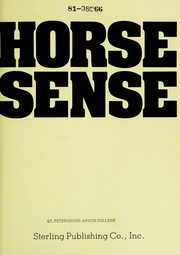 Cover of: Horse sense | [consulting editor, Jane Starkey].