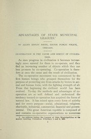 Cover of: Advantages of state municipal leagues