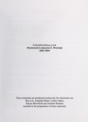 Cover of: Constitutional law | Lorraine Weinrib