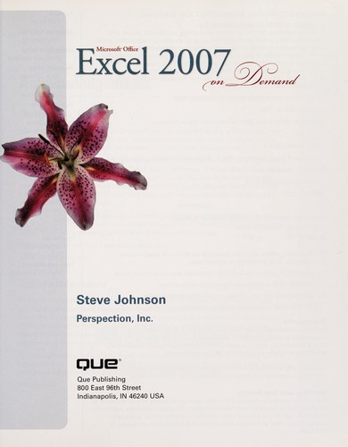 Microsoft Office Excel 2007 on demand by Johnson, Steve