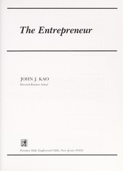 Cover of: The Entrepreneur | John J. Kao