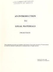 Cover of: An Introduction to legal materials. |