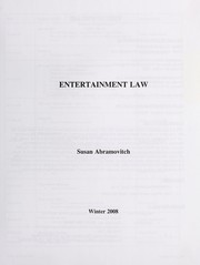 Cover of: Entertainment law | Susan Abramovitch
