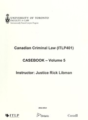 Cover of: Canadian criminal law (ITLP401)