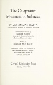 Cover of: The co-operative movement in Indonesia