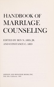 Cover of: Handbook of marriage counselling |