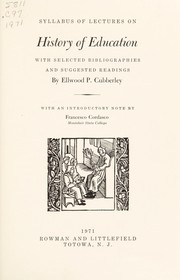 Cover of: Syllabus of lectures on history of education | Cubberley, Ellwood Patterson