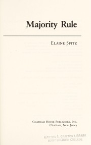 Cover of: Majority rule | Elaine Spitz
