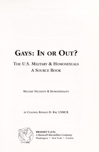 Gays : in or out? by Ronald D. Ray