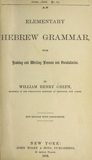Cover of: An elementary Hebrew grammar