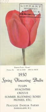 Cover of: 1930 spring flowering bulbs | Peacock Dahlia Farms