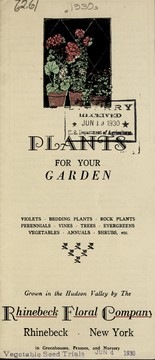 Cover of: Plants for your garden [price list] | Rhinebeck Floral Company