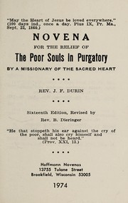 Cover of: Novena for the relief of the poor souls in purgatory | J. F. Durin