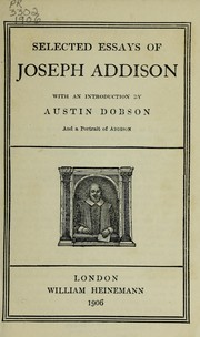 Cover of: Selected Essays of Joseph Addison