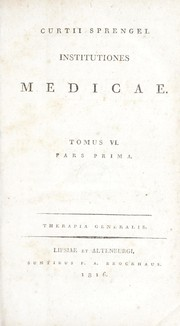 Cover of: Curtii Sprengel Institutiones medicae