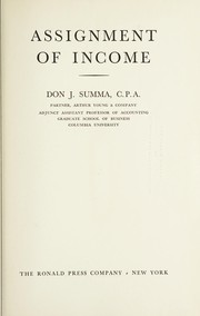 Cover of: Assignment of income. | Don J. Summa