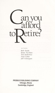 Cover of: Can you afford to retire? |
